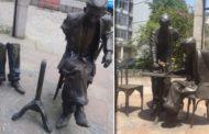 Pedaços da estátua de Noel Rosa em Vila Isabel são roubados por criminosos mais uma vez