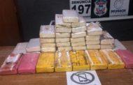 Traficante é preso com 40 tabletes de cocaína em estrada